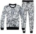 Harajuku style 3d sweatshirt&trousers 3d sweat suits printed Dollars suit set Men/Women Street clothes fashion casual suit