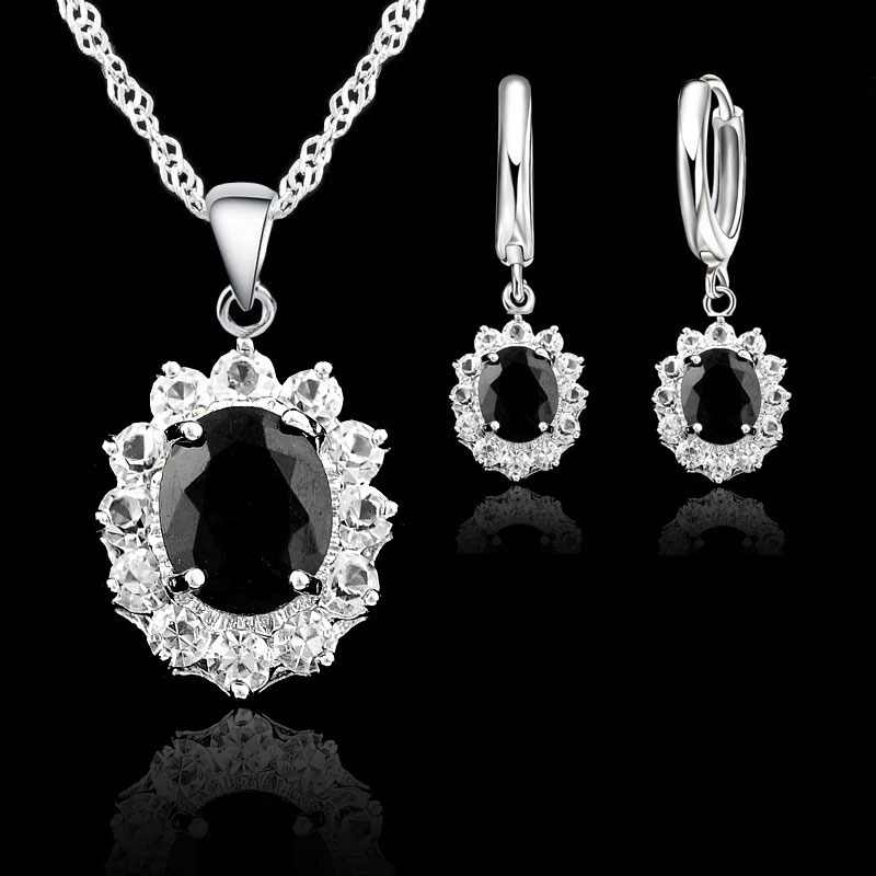 JEXXI S90 Silver Color Jewelry Sets For Women Black Oval Cubic Zirconia Stones Princess Kate Bridal Wedding Necklace Earrings