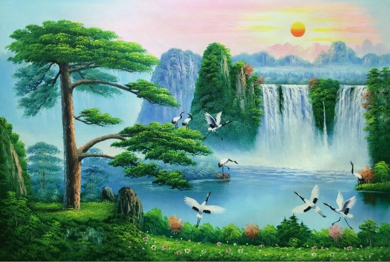 Ručně malovaná olejomalba na plátněČína ve stylu čínské malby na plátně uvítací borovice Wall Art - obrázek pro bytové dekorace