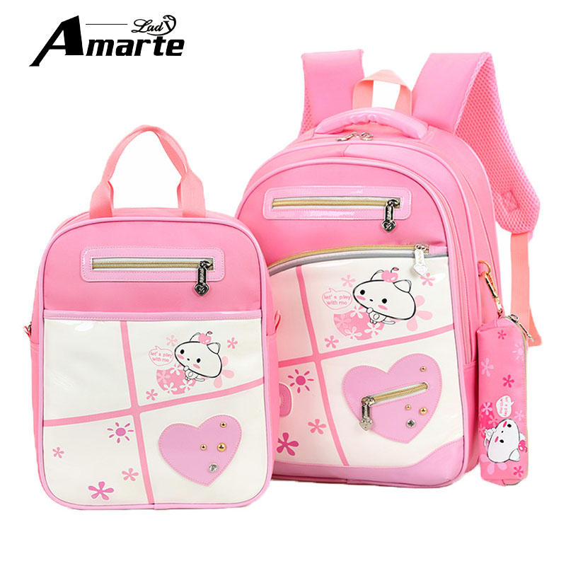 New Cartoon Kindergarten School Bag Backpack Children Schoolbag Pink Girls Book Bag 3 Pieces Kids Backpacks 2016 new kids cartoon ice queen schoolbag girls boys printed princess backpacks children s zipper notebook bag