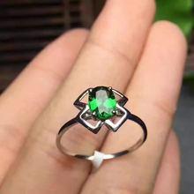 925 серебро natuarl кольца с диопсидом девушка мода ювелирные