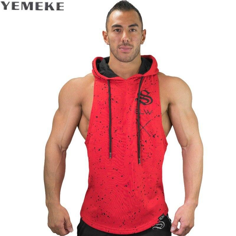 YEMEKE Marca Musculação Tanque Longarina Encabeça Hoodies Sportwear Regatas Homens  Fitness Roupas sem mangas Com Capuz colete 4f03b613df9