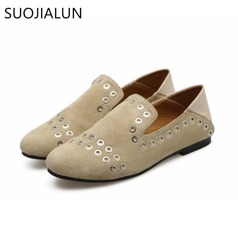 SUOJIALUN Spring Autumn Slip On Flat Women Shoes Genuine Leather Flats Shoes Female Casual Flat Woman Loafers Oxford Shoes vtota spring autumn shoes woman butterfly knot flats women shoes slip on casual shoes flat zapatos mujer soft female shoes 606