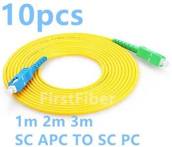 FirstFiber 10 pçs/saco 1 m 2 m 3 m SC APC para SC SC UPC PC G657A Fiber Patch Cable, ligação em ponte, SM Simplex Patch Cord 2.0mm