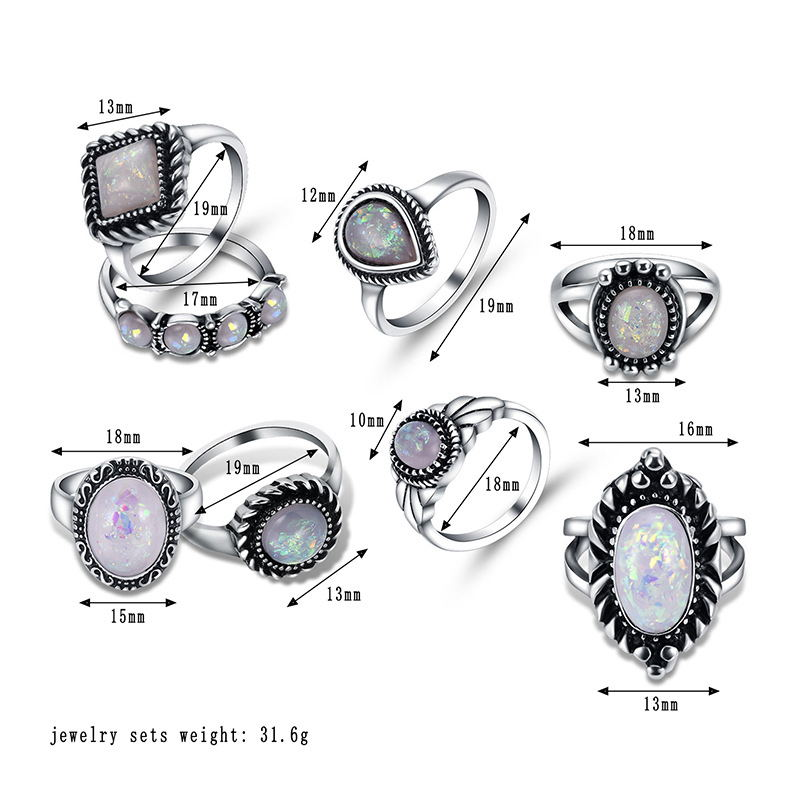 2018 Новый 8 шт. модные Винтаж jewelry лист камень комплекты Винтаж Кристалл Опал Knuckle Кольца для Для женщин Jewellery