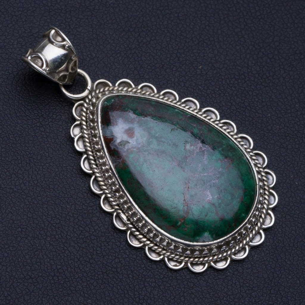 Natural Chrysocolla Punk Style 925 Sterling Silver Pendant 2 P0490Natural Chrysocolla Punk Style 925 Sterling Silver Pendant 2 P0490