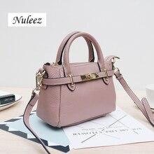 Hakiki deri klasik kemer düğmesi tasarım kadın çantası Nuleez kafa katman bir çapraz çanta moda çanta 2018 yeni gelecek