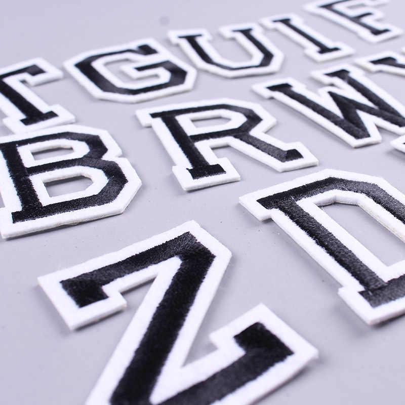 Prajna 26 inglês letras remendo bordado ferro-no remendo para a roupa alfabeto inglês palavras adesivos emblema vestuário acessório f