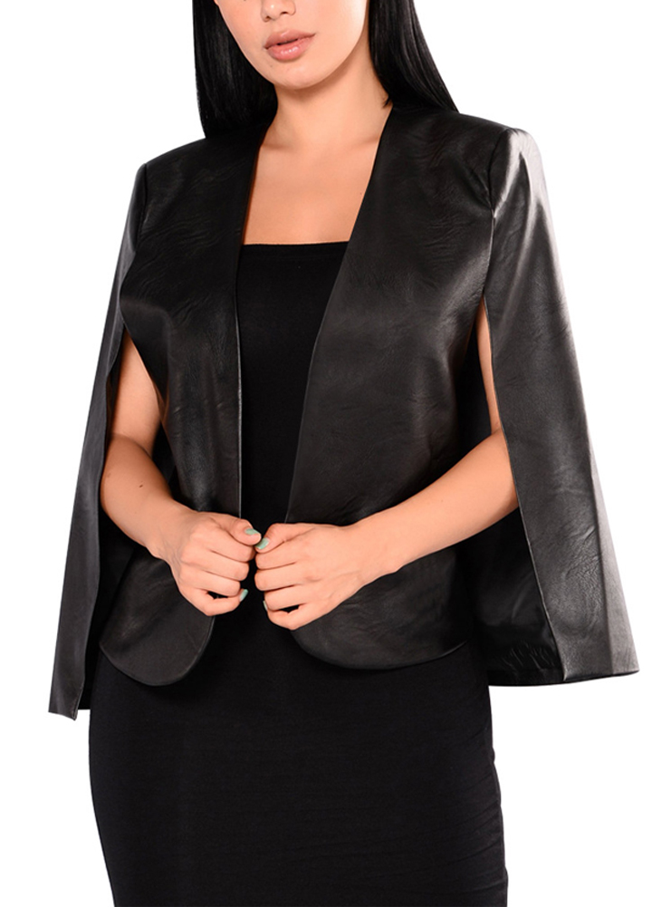 Fashion Women PU   Leather   Jacket Open Front Split Loose Cape Cloak Coat Street Outerwear female Office Work Wear Coat Lady Black