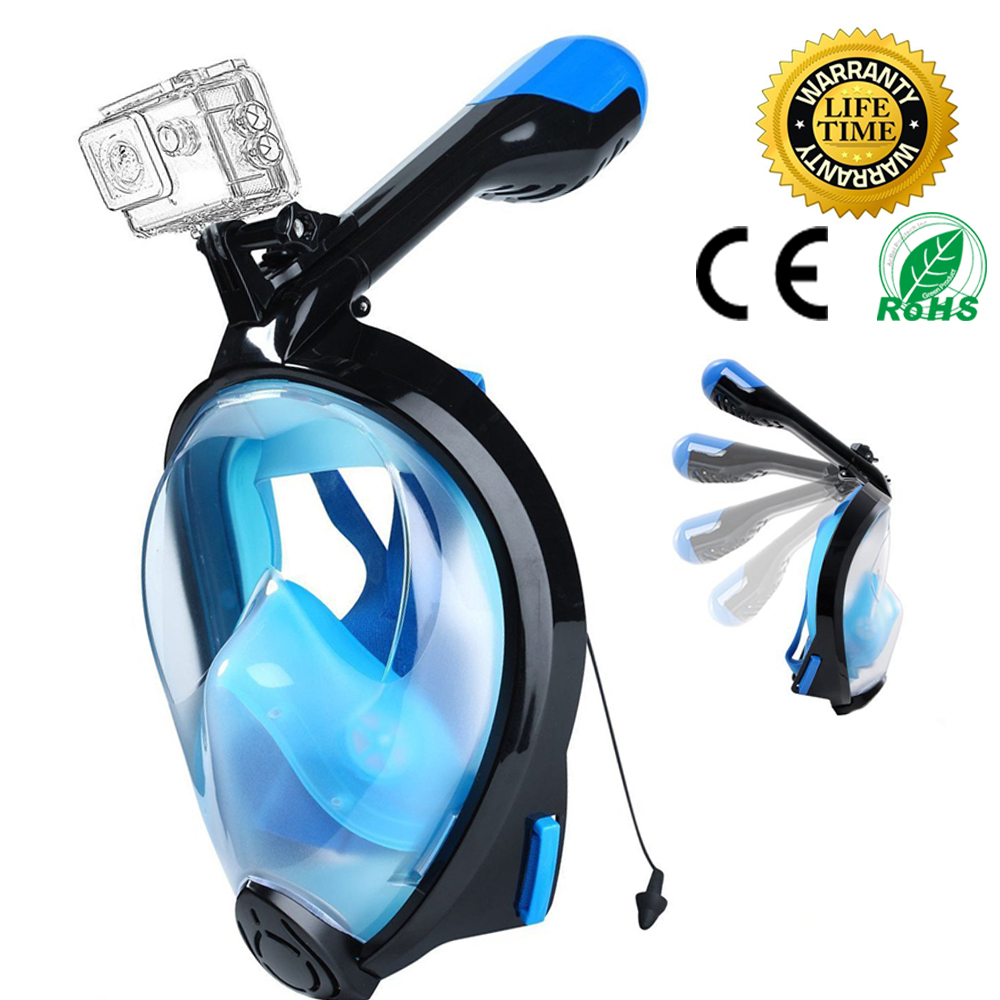 Silicon Full Face Diving Mask Scuba Underwater Seaview Gear Swimming Snorkel Mask for Gopro Camera Holder Stand Set цена