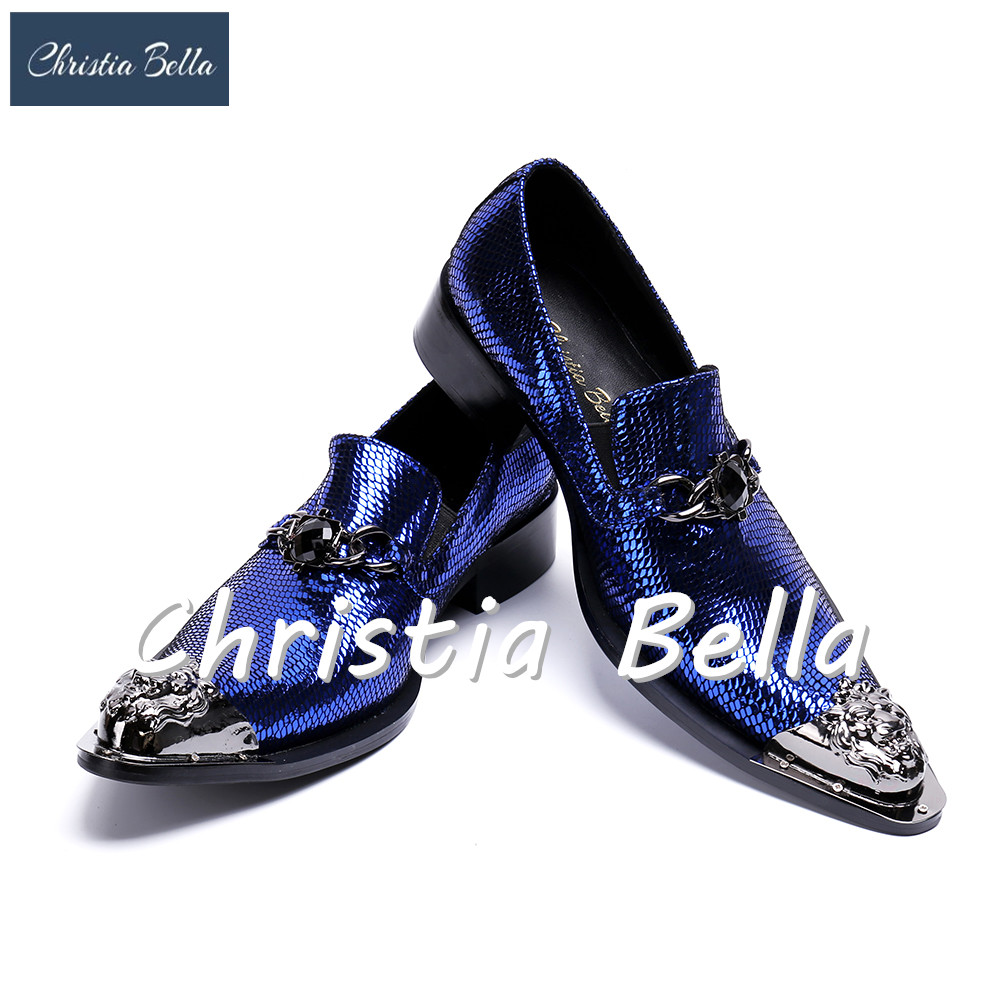 Christia Bella Fashion Italian Designer Blue Men Dress Shoes Bling Bling Wedding Shoes Men Flats Business Formal Shoes for Men
