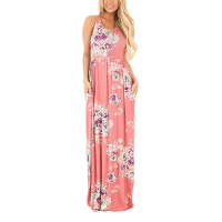 Women Boho Sundress Sleeveless O Neck Summer Floral Print Sexy Maxi Long Dress Casual Ladies Beach