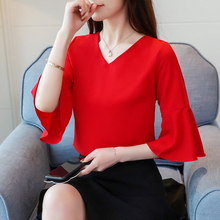 Red Chiffon Blouse Shirt Summer 2019 New Fashion blusa Half-Sleeve Women Top V-Neck Female Sexy Elegant Womens Clothing 832i3