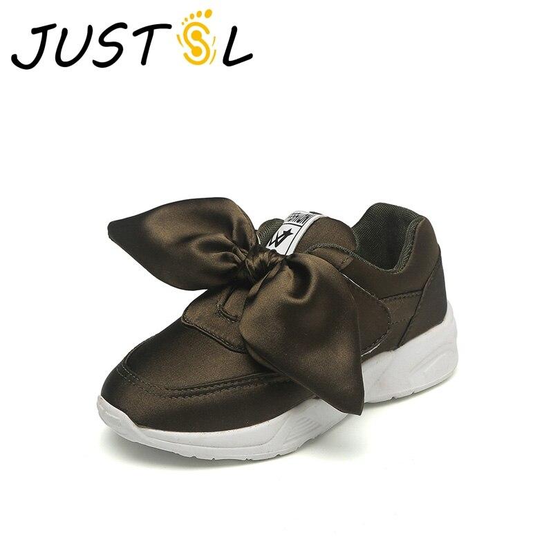 JUSTSL ragazza antiscivolo scarpe da corsa bambini panno di seta bowknot casual  scarpe sportive per bambini 885031c2ec5