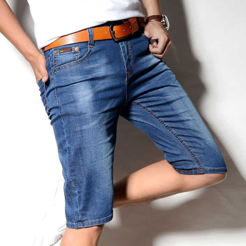 DOHO 2018 men denim shorts in summer Five straight jeans Cowboy pants in loose big yard ...