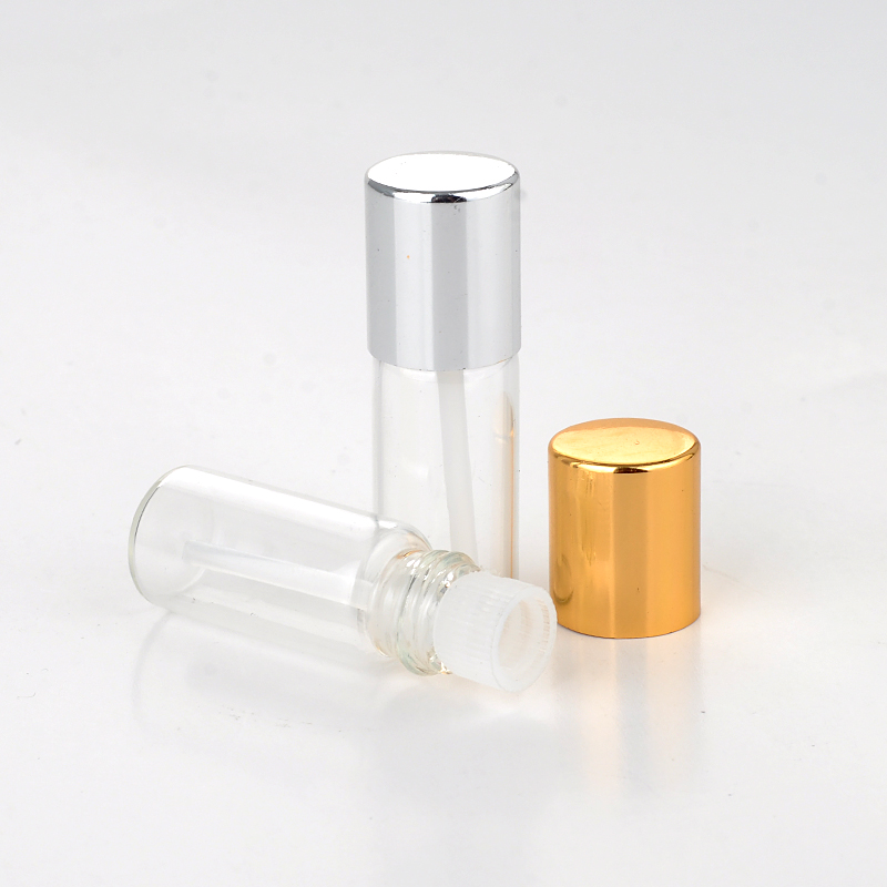 Wholesale 100 Pieces/Lot  3ML Mini Portable Glass Perfume Bottle With Anodized Aluminum Cap Empty Essential Oils With Stick