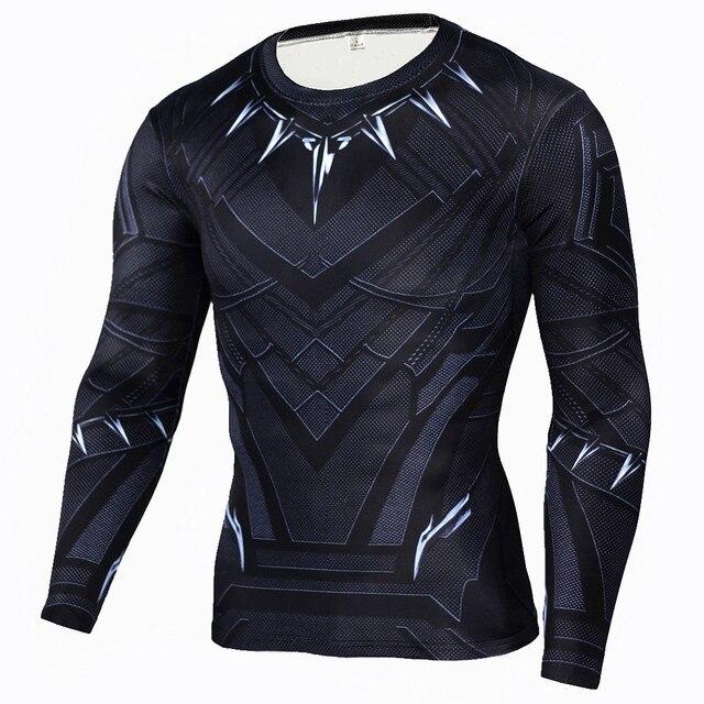 1d281e4d05e26 Rashgard T camisa de los hombres negro Pantera T camisas camiseta de  compresión Crossfit Fitness culturismo