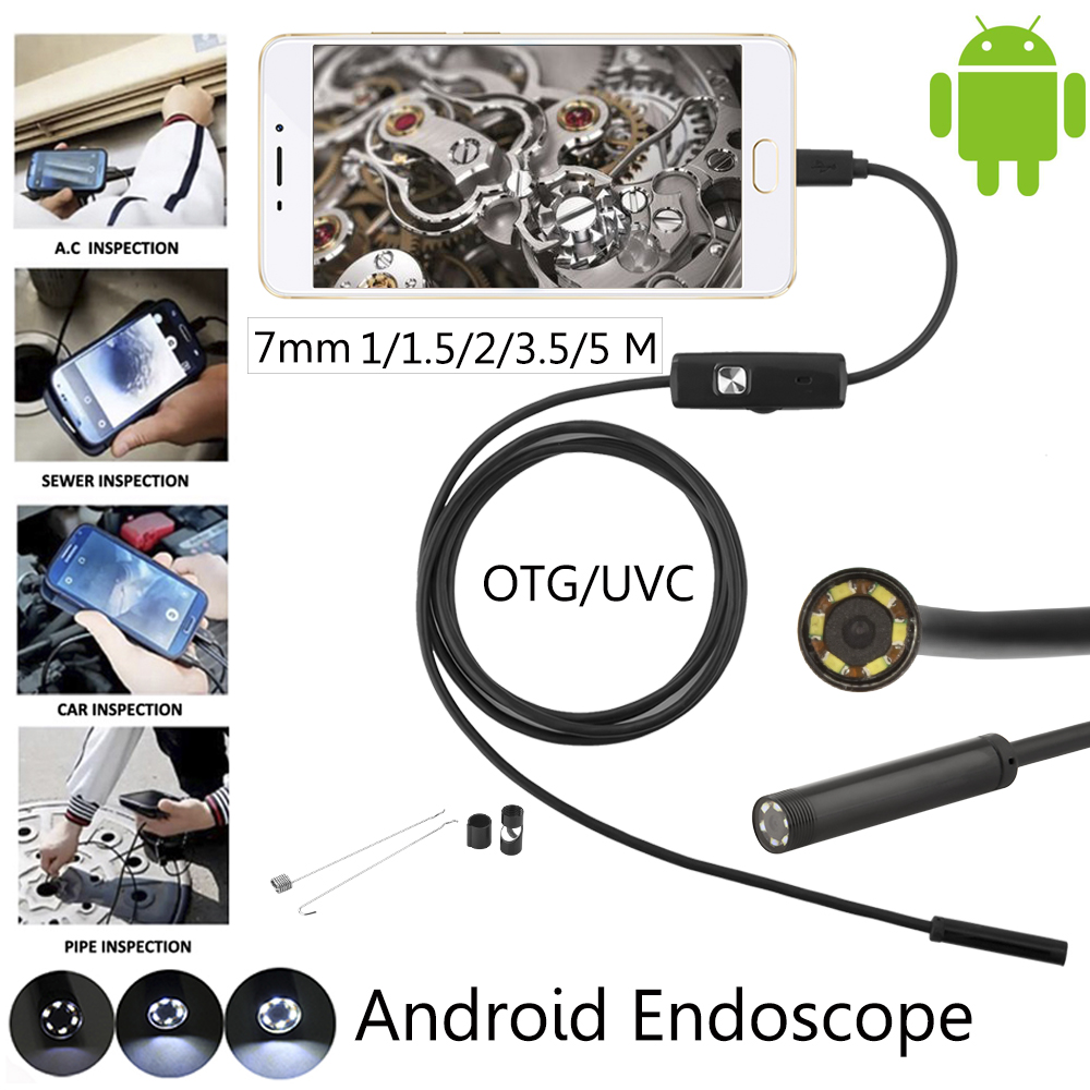 JCWHCAM 7mm 1M 5M 2M Android USB Endoscope Camera Snake USB Pipe Inspection Waterproof Andorid Mobile OTG USB Borescope Camera in Surveillance Cameras from Security Protection
