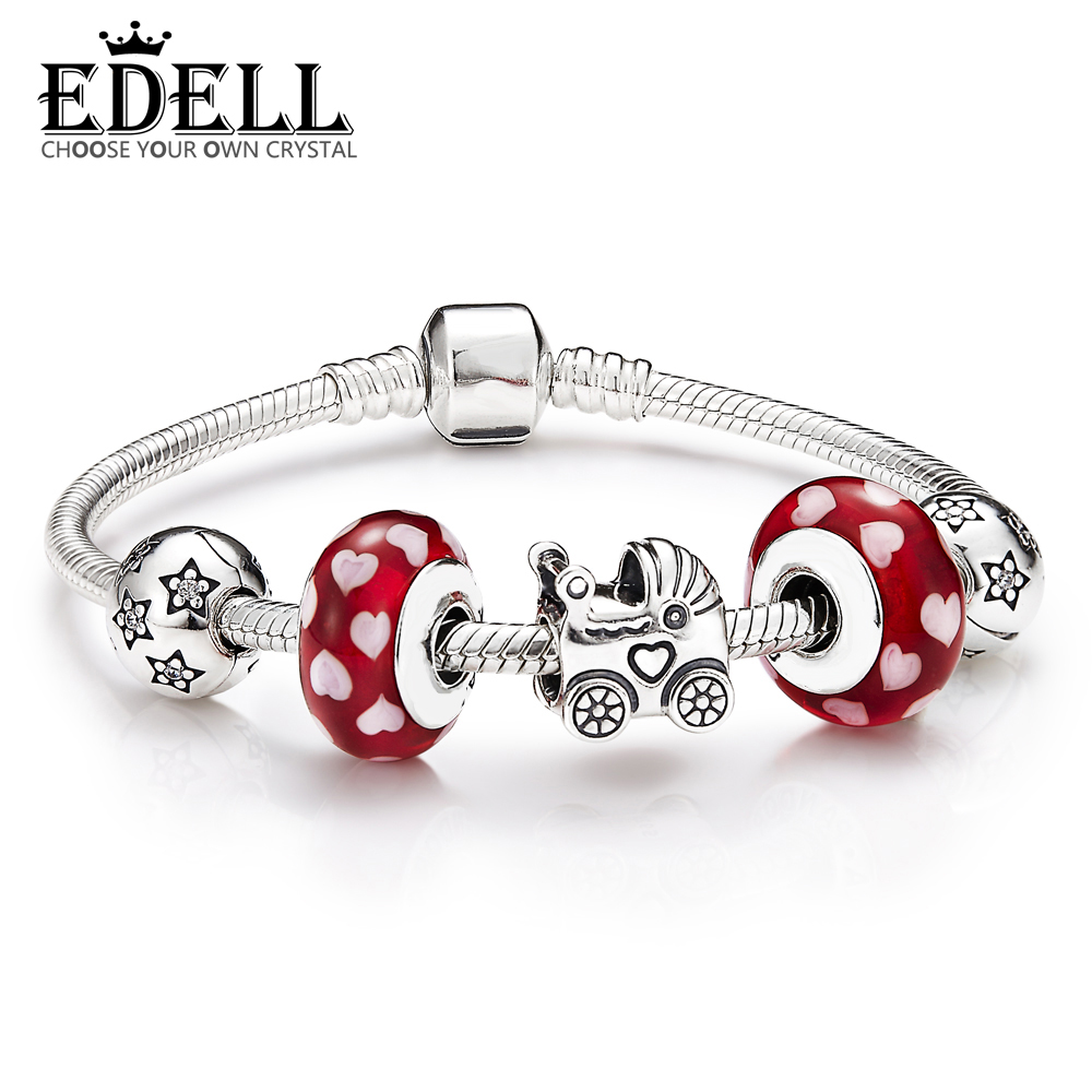 EDELL New Arrival 100% 925 Sterling Silver Bracelet For Women With Heart Chain Charms Beads Fashion Jewelry Original Free Mail