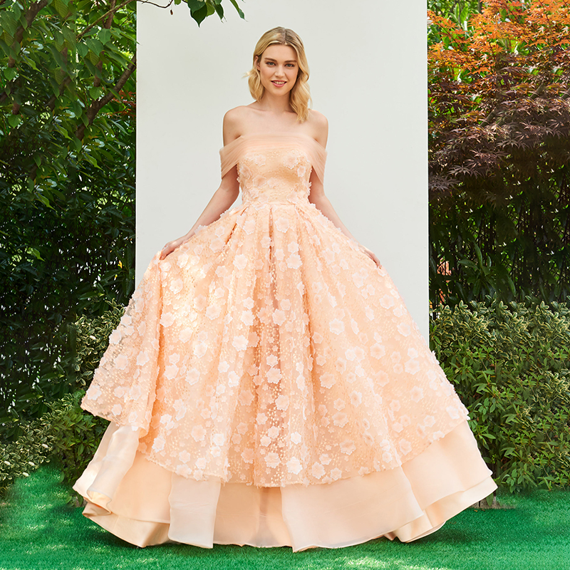 Tanpell off the shoulder   prom     dresses   lace appliques floor length a line gown women strapless evening customed formal   prom     dress