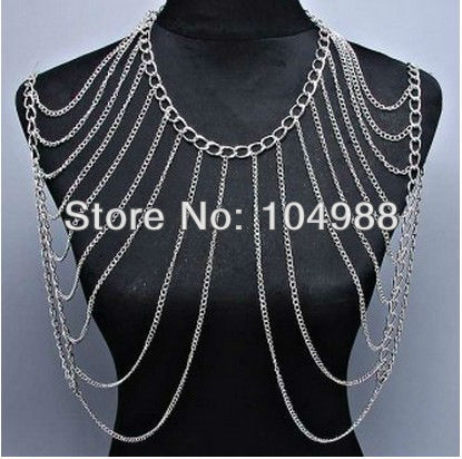 NEW LADY GOLD/SILVER CHAIN JEWELRY DOUBLE SHOULDER HARNESS TRENDY BODY JEWELRY