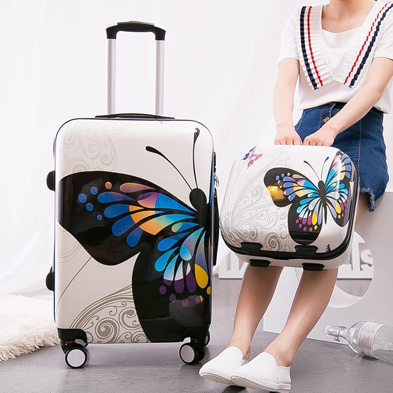 Новое поступление! для женщин 12 20 24 дюймов бабочки ПК Hardside случае багаж набор на универсальные диски, высокого качества тележки для багажа