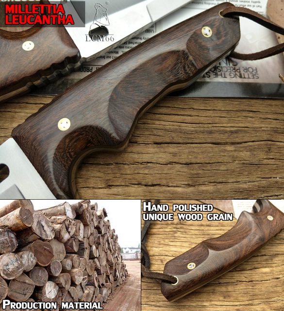 LCM66 hunting knife Tactical Small Fixed Knives, Copper Ebony handle Survival Knife, Camping Portable knife cs Handmade