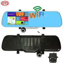 Latest 5 inch GPS Android Mirror GPS Navigation DVR Bluetooth Phone Call Dual Camera Rear View Camera Sync Record Quad Core WiFi
