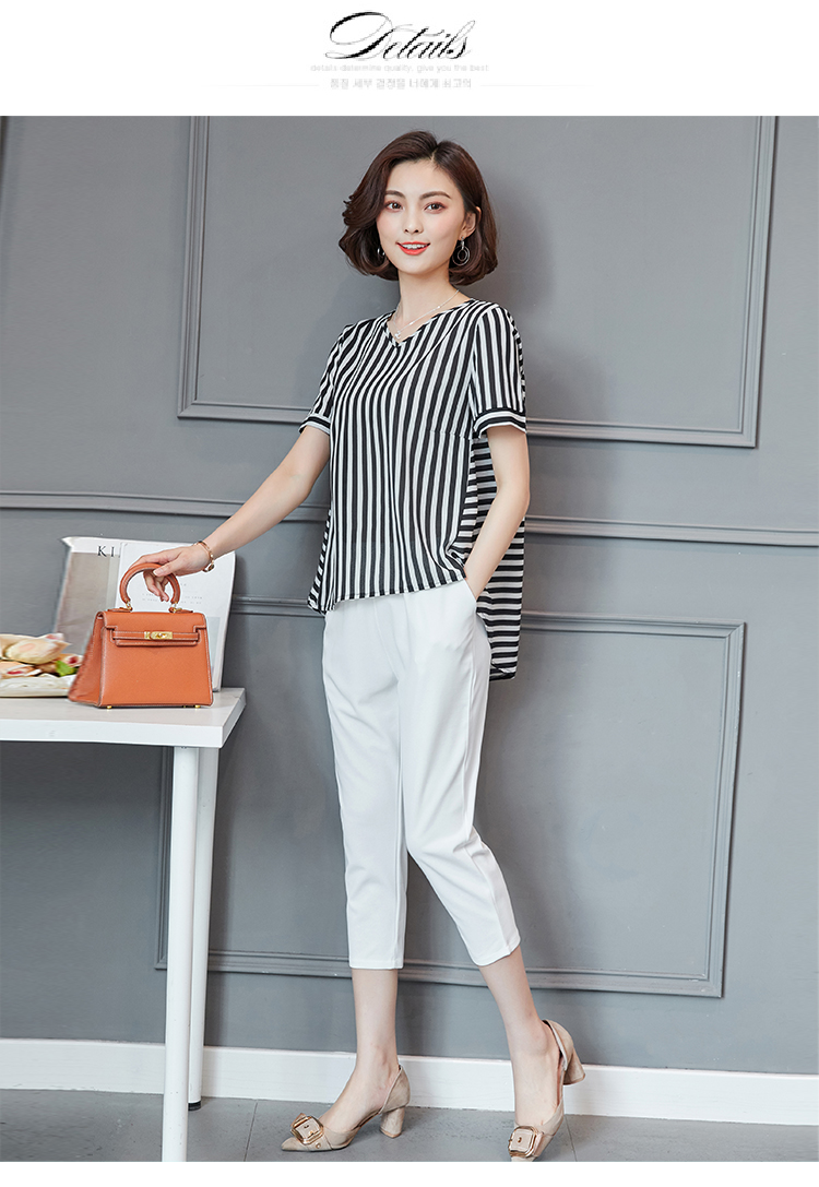 Plus Size Summer Striped Two Pieces Sets Women Short Sleeve Tops And Cropped Pants Suits Sets Casual Korean Women's Costume 2019 37