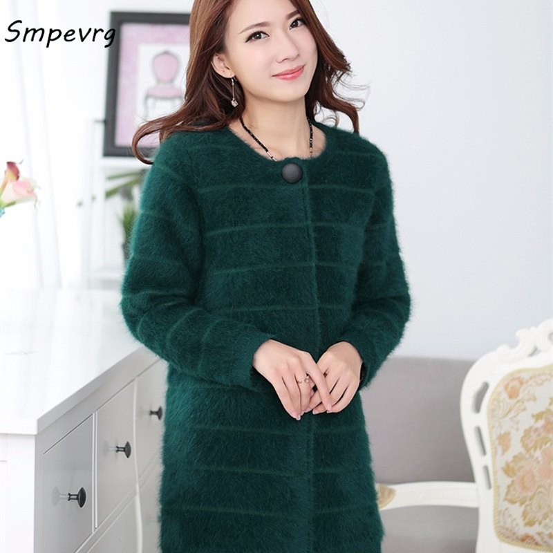 smpevrg new winter Female solid color long section Mink Cashmere Coat Cardigan Sweater fashion warm round