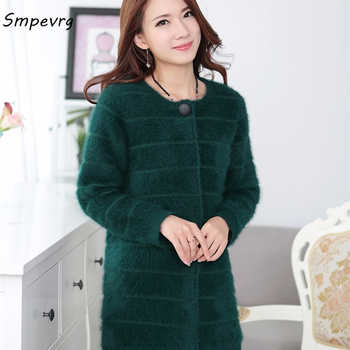 smpevrg new winter Female solid color long section Mink Cashmere Coat Cardigan Sweater fashion warm round neck knit Thick jacket - DISCOUNT ITEM  43% OFF All Category