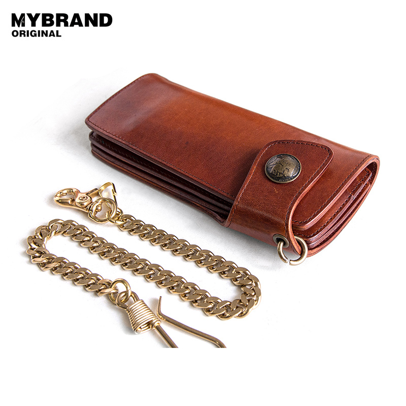 MYBRANDORIGINAL Cow Leather Long Wallet For Men Vintage Genuine Leather Metal Chain Purse with Coin Pocket Anti Theft Chain Q53