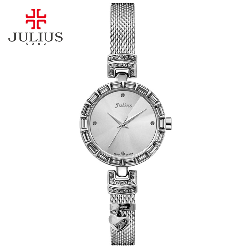 Julius Women Watch Silver Steel Bling Bling Czech Stone Heart Love Watch Valentine's Gift OL lady Whatch Relogio Feminino JA-491