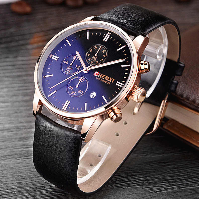 CHENXI Men Watch Calendar Quartz Wristwatch Chronograph Leather Strap Waterproof Men's Sport Watches Gifts Relogio Masculino hubot elegant classic men s watch dates calendar classical art carved craft design chronograph men sport watches relogios