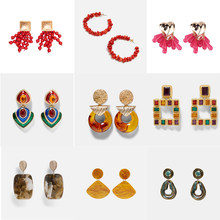 Girlgo New 32 Designs Za Stone Beads Drop Earrings for Women Bridal Ethnic Crystal Dangle Statement Earring Summer Party Jewelry(China)
