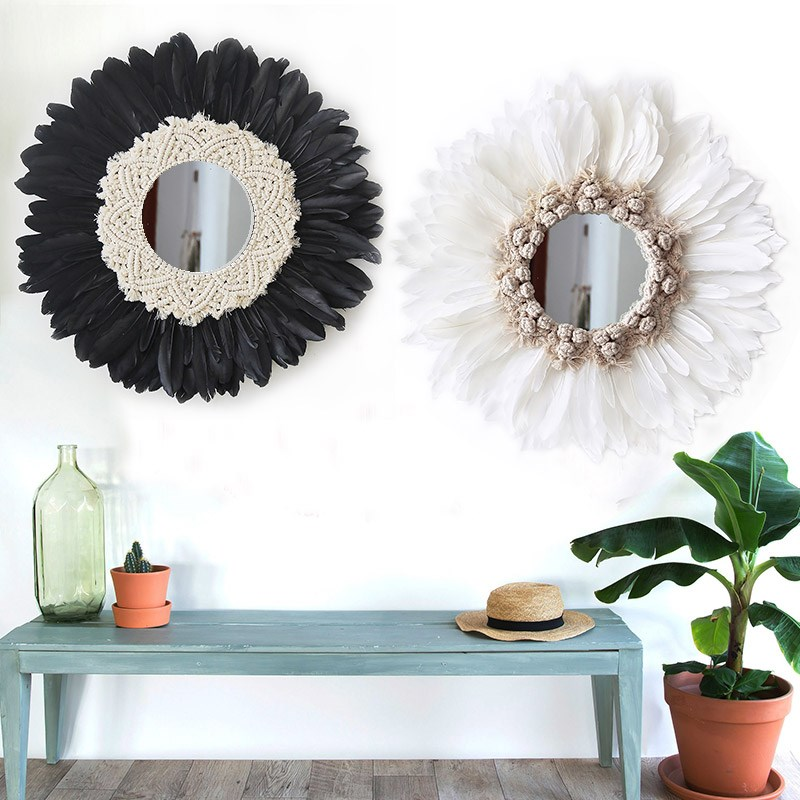 50CM Tapestry Feather Glass Mirror Creative Art Decoration Round Mirror Living Room Wall Wall Hanging Mirror R1627 - 2