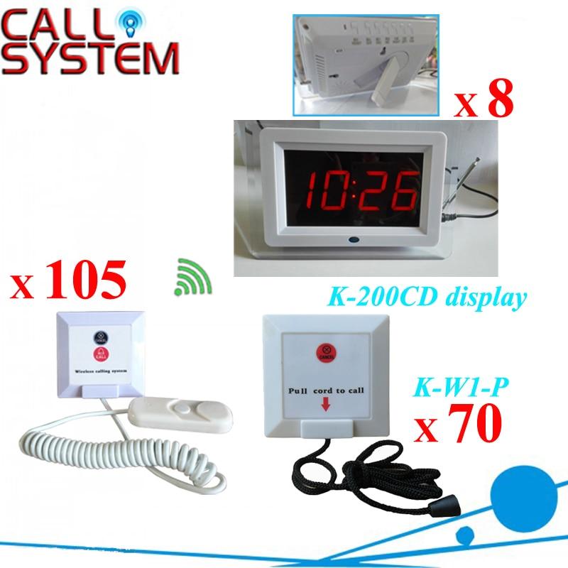 Hospital Nurse Paging System Panic Button (8pcs K-200CD monitor +70pcs K-W1-P+105pcs K-W2-H)Hospital Nurse Paging System Panic Button (8pcs K-200CD monitor +70pcs K-W1-P+105pcs K-W2-H)