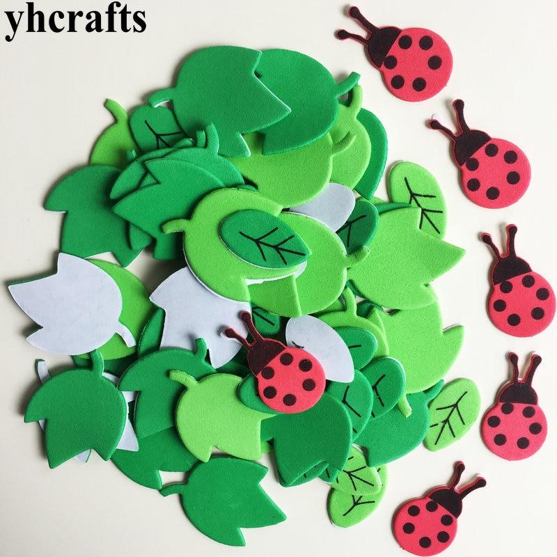 1 пакетов/лот, снежинка, рождественские наклейки из пены для раннего обучения, Обучающие поделки, diy игрушки, детская комната, орнамент, цветная обучающая креативная OEM - Цвет: 64PCS leaf 6PCS bug