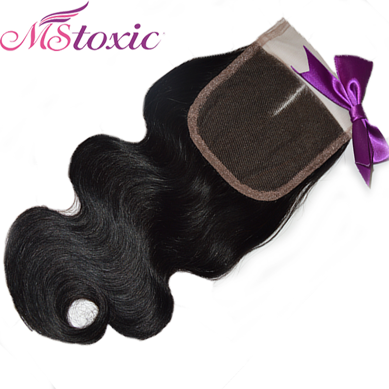 Mstoxic Lace Closure Brazilian Body Wave Non Remy Hair Natural Color Human Hair Middle Part 4''x 4'' Free Shipping