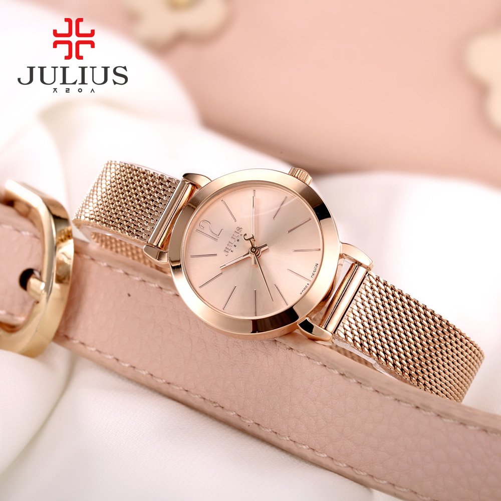 2017 New Julius Women s Lady Wrist Watch Quartz Hours Steel Classic OL Bracelet Watches Women