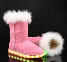 2017 winter new snow boots girls shoes thick warm LED lights shoes USB charging princess boots suede boots size 28-40