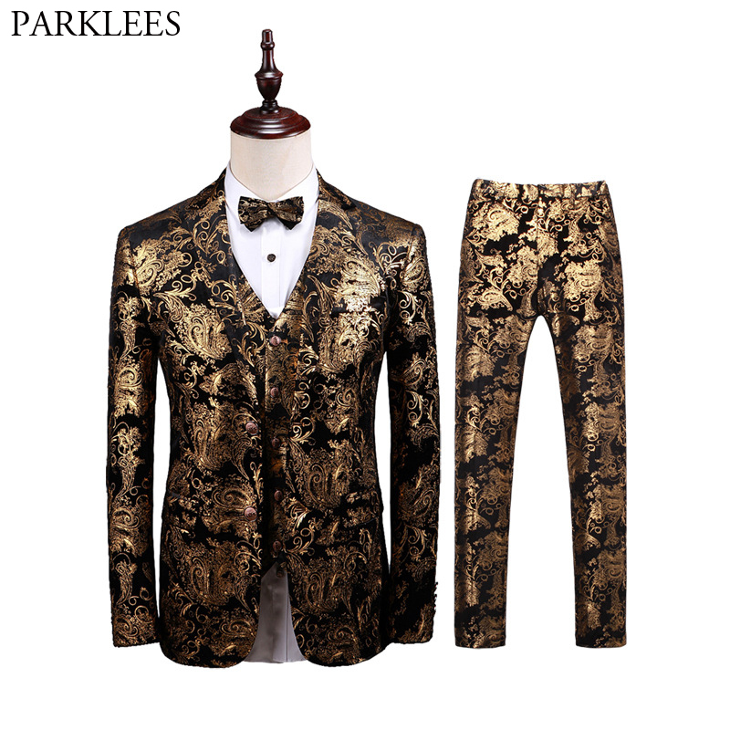 Luxury Gold Paisley 3 Piece Tuxedo Suits Men Brand Slim Fit Wedding Groom Velvet Dress Suits Mens Party Prom Stage Costume Homme