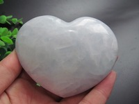 NATURAL PRETTY CELESTITE CRYSTAL HEART HEALING Decoration Resistant Healing Stone Feng Shui Decoration 276g