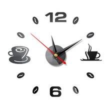 Домашние 3D зеркальные настенные часы самоклеющиеся современные немой акриловый художественный аналоговый кухонный DIY кофейные чашки Декор водонепроницаемый