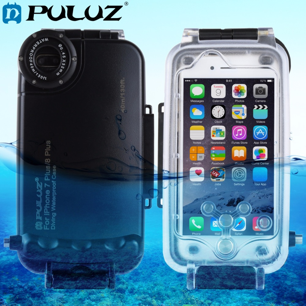 PULUZ for iPhone 8 Plus & 7 Plus 40m/130ft Waterproof Diving Housing Protective Case Photo Video Taking Underwater Cover Case 40m 130ft waterproof underwater diving camera housing case for sony a5000 16 50mm lens
