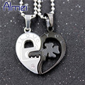 Almei Stainless Steel Couple Love Heart Necklace Pendant With Stone Chain Women Men Pair Key and Lock  CZ Diamond Jewelry TN393