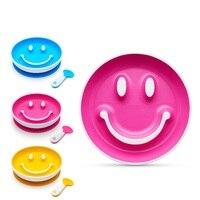 Smiley plate baby food supplement children's plate training spoon tableware big sucker