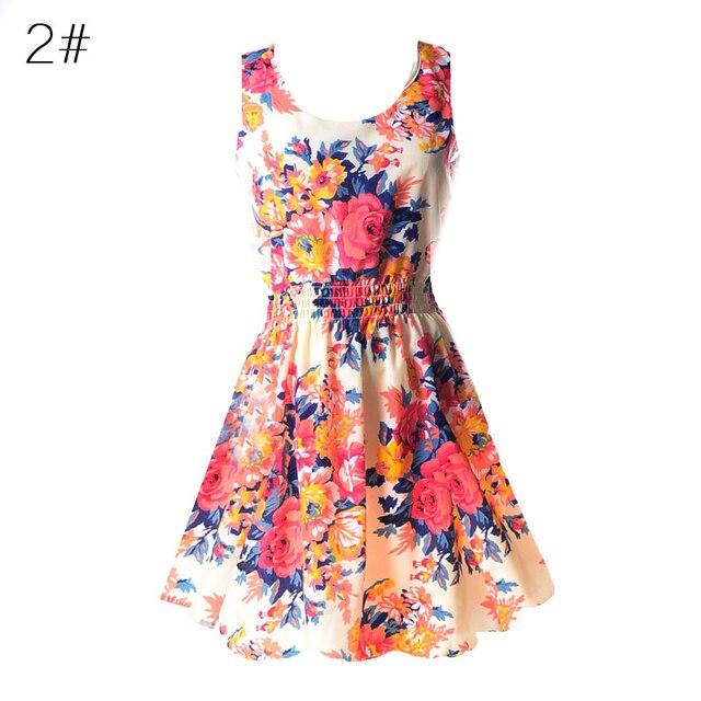 Сексуальная Женщины Шифон Dress Рукавов Сарафан Пляж Цветочные Танк Мини-Платья Платье