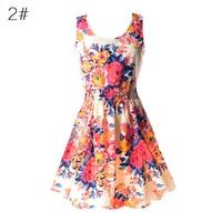 WJ Fashion Summer Print Dresses Women Floral Sleeveless O-neck Chiffon Dress Casual Female Mini Beach Dress Vestido