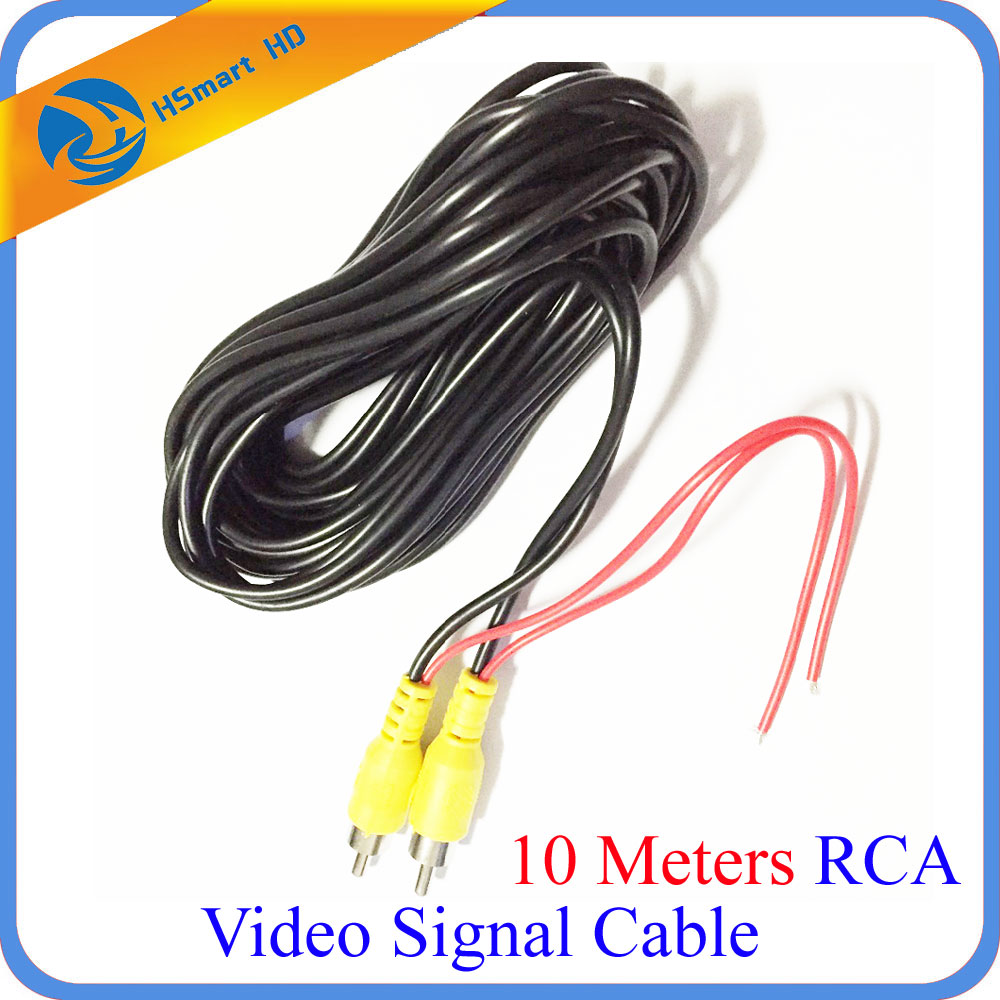 10 Meters RCA Video Signal Cable Waterproof 10M RCA Car Video Cable with Detection Wire For Car Rear View Camera mini DVR Kits 12m 12v 24v 2rca audio video av cable rca male to rca male detection wire for car rear view backup camera dvd player tv box